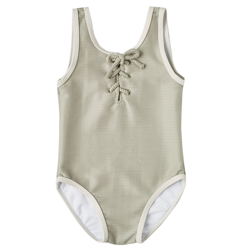 Rylee & Cru Laced Onepiece Swimsuit, Sage