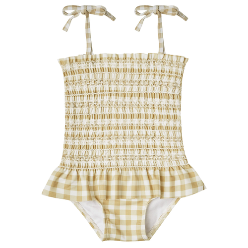 Rylee & Cru Smocked Swimsuit, Gingham