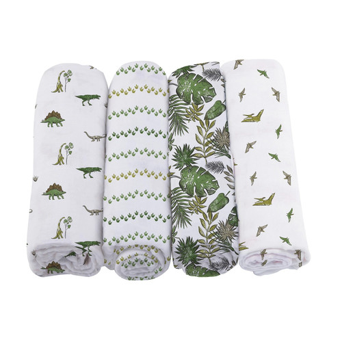 Muslin Swaddle 4-Pack, Dino Days