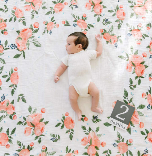 Muslin Photo Memory Blanket & Card Set, Peach Rose