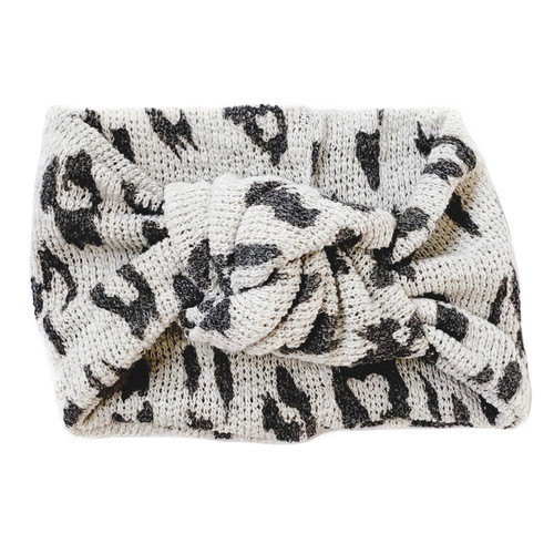 Twist Knot Headband, Grey Leopard