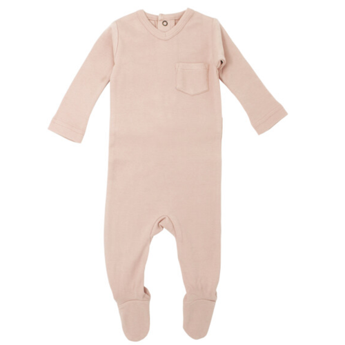 Organic V-Neck Footie, Rosewater