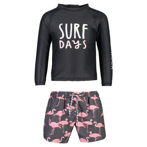LS Rashguard & Shorts Set, Flamingo Surf