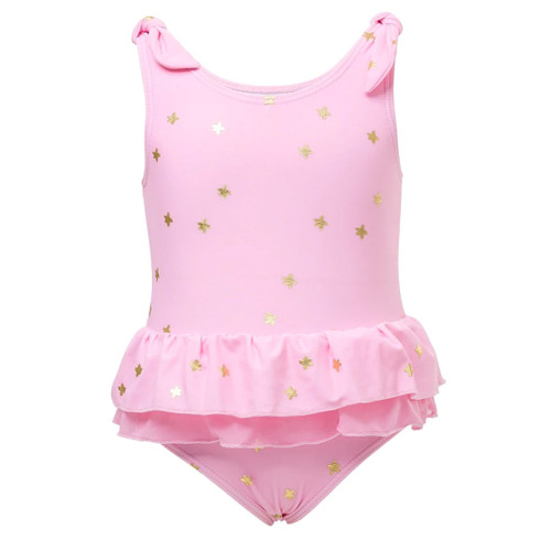 Pink & Gold Star Frill Skirt Swimsuit