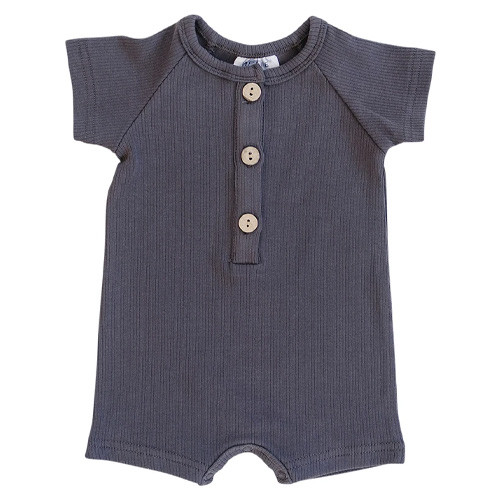 Button Shorts Romper, Charcoal