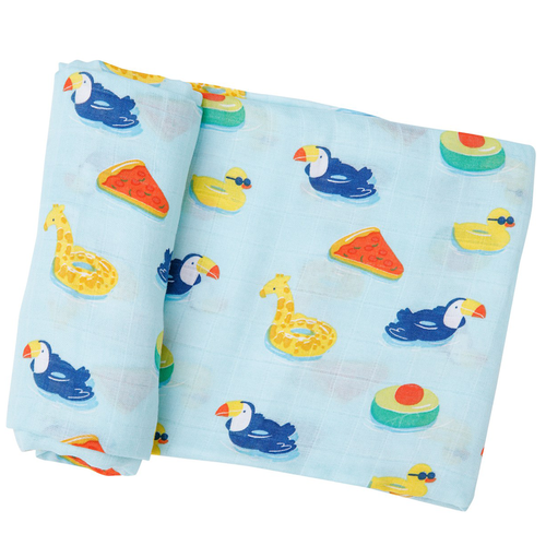 Muslin Swaddle, Floaties Blue
