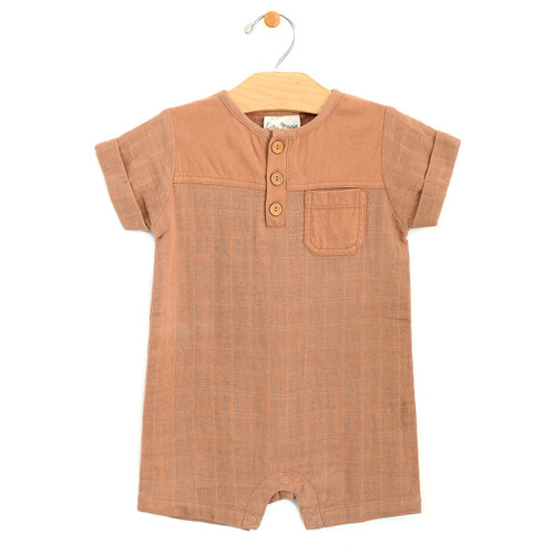 Jersey & Muslin Short Pocket Romper, Latte
