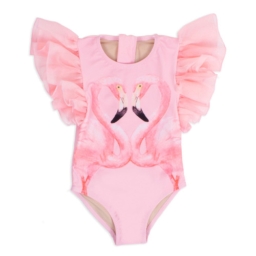 Tulle Sleeve Swimsuit, Pink Flamingo
