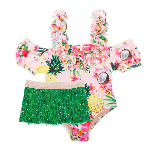 Off The Shoulder Swimsuit w/ Skirt, Hula Girl