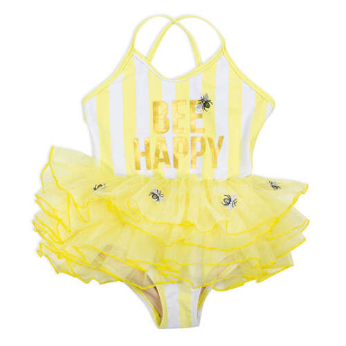 Skirted Swimsuit, Bee Happy