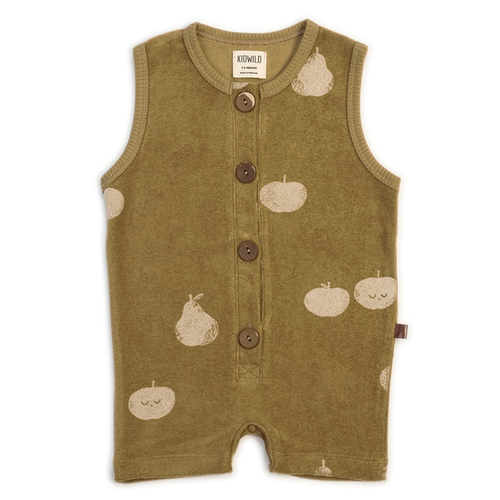 Organic Terry Romper, Apple Pear