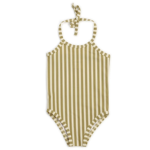 One Piece Swimsuit, Stripe Olive