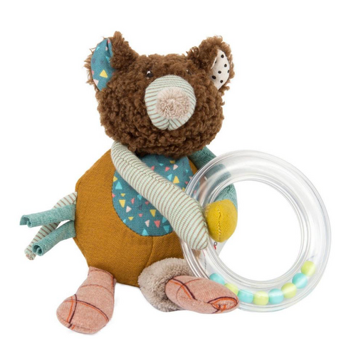 Patchwork Bear Ring Rattle