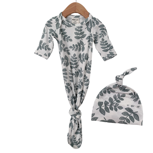 Knotted Gown & Hat Set, Sage Fern
