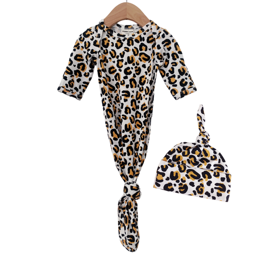 Knotted Gown & Hat Set, Leopard