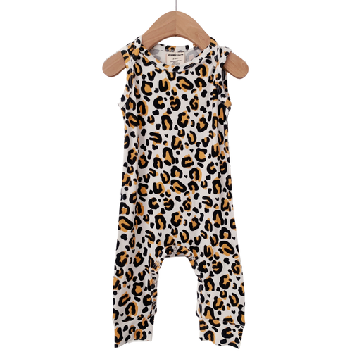 Sleeveless Romper, Leopard