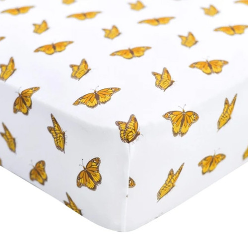 Bamboo Stretch Crib Sheet, Monarch Butterfly