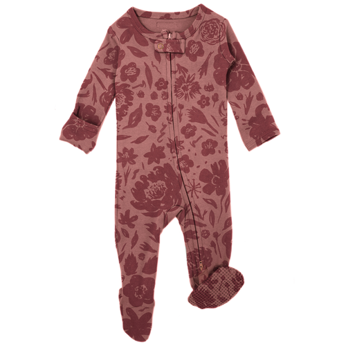 Organic Zipper Footie, What in the Carnation Mauve