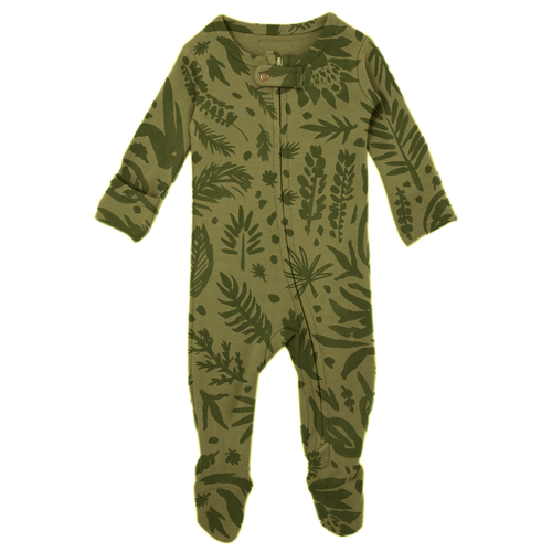Organic Zipper Footie, Get Clover It! Sage