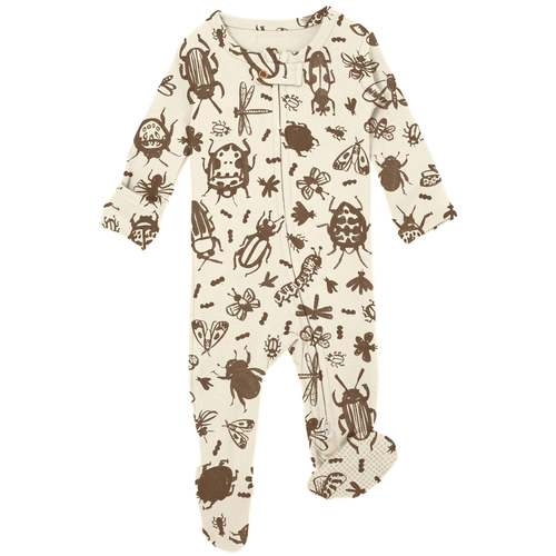 Organic Zipper Footie, Don't Bug Me! Beige