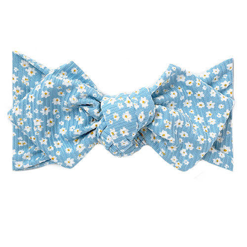 Top Knot Headband, Ribbed Baby Blue Floral