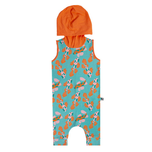 Tank Hooded Capri Rag Romper, Koi Fish
