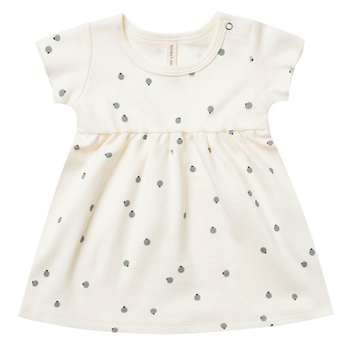 Organic Cotton Short Sleeve Dress, Ivory Blueberries