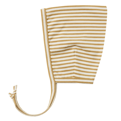Cotton Pixie Bonnet, Gold Stripe