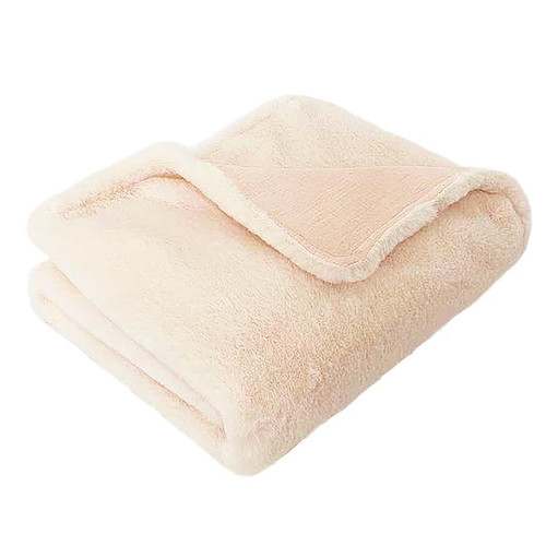 Luxe Faux Fur Baby Blanket, Blush Pink