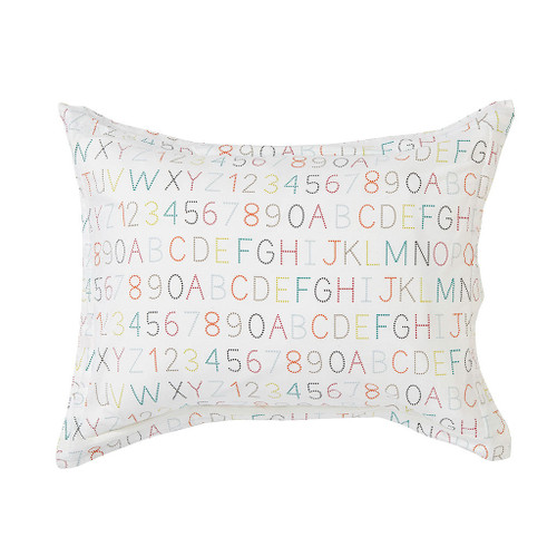 Alphabet/Rainbow Stripe Standard Pillow Sham