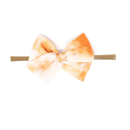 Nylon Headband Bow, Orange Tie Dye