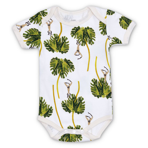 Organic Cotton Bodysuit, Dancing Palms White