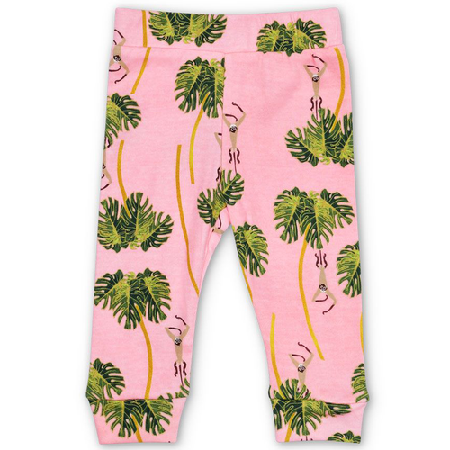 Organic Cotton Leggings, Dancing Palms Pink
