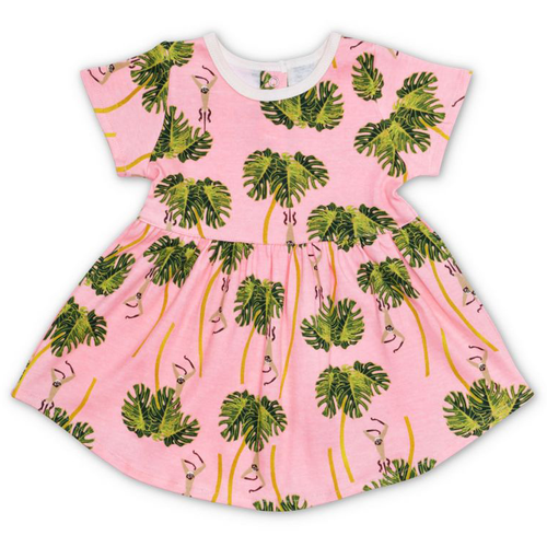 Organic Dress, Dancing Palms Pink