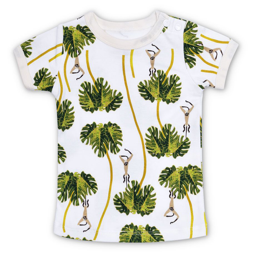 Organic Cotton Tee, Dancing Palms White