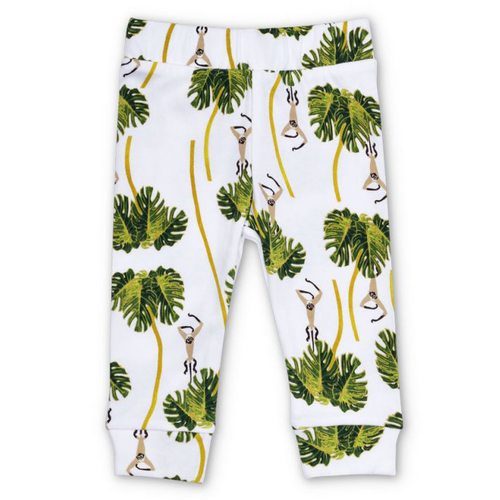 Organic Cotton Leggings, Dancing Palms White