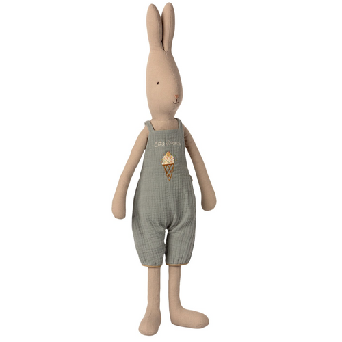 Rabbit Doll in Dusty Blue Overall