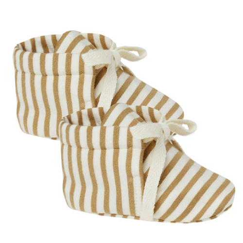 Organic Baby Booties, Gold Stripe