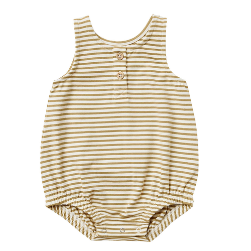 Organic Sleeveless Bubble Romper, Gold Stripe