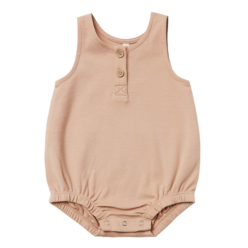 Organic Sleeveless Bubble Romper, Petal