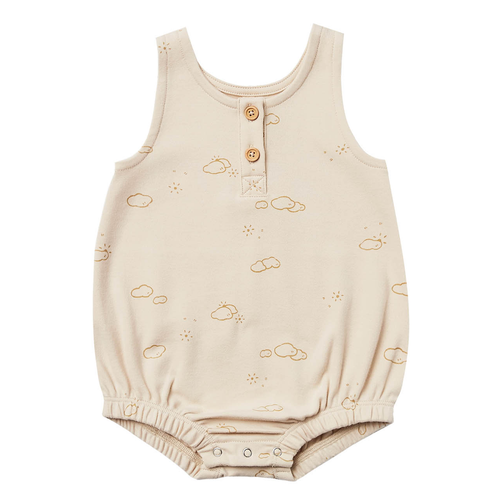 Organic Sleeveless Bubble Romper, Natural Sunny Day