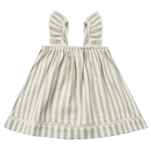 Woven Ruffle Tube Dress, Sage Stripe