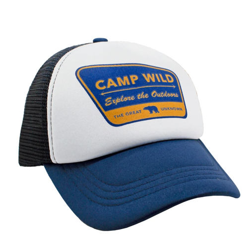 Camp Wild Mesh Trucker Hat, Navy