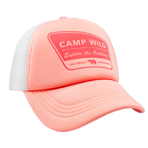 Camp Wild Mesh Trucker Hat, Coral