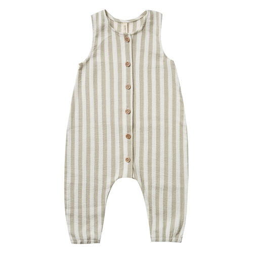 Woven Button Jumpsuit, Sage Stripe