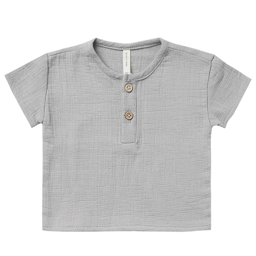 Woven Henry Top, Periwinkle