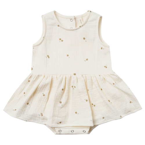 Organic Skirted Tank Bodysuit, Ivory Tiny Flower