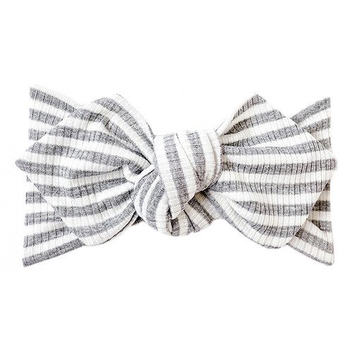 Top Knot Headband, Ribbed Grey & White Stripe