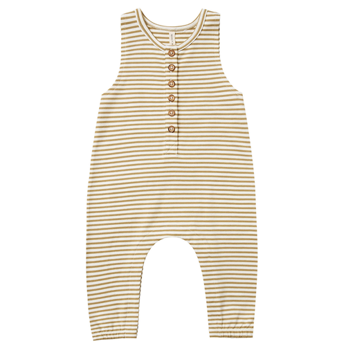 Organic Sleeveless Jumpsuit, Gold Stripe