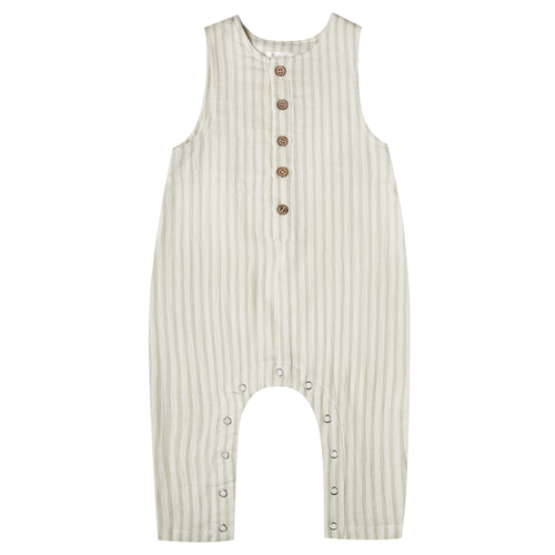 Rylee & Cru Button Jumpsuit, Sage Stripe